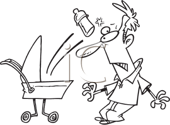 Royalty Free Clipart Image of a Man Hit By a Baby Bottle
