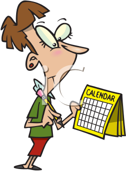 Royalty Free Clipart Image of a Woman Looking at a Calendar