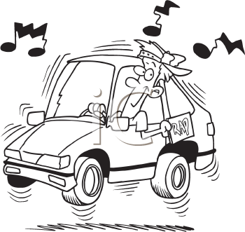 Royalty Free Clipart Image of a Man Listening to a Car Radio