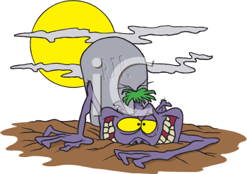 Royalty Free Clipart Image of a Ghoul at a Grave