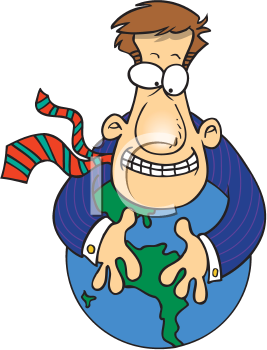 Royalty Free Clipart Image of a Man Holding a Globe