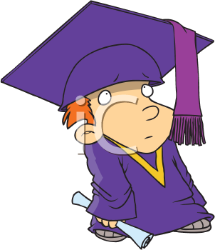 Royalty Free Clipart Image of a Little Boy Graduating
