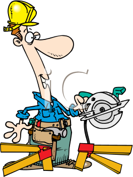 Royalty Free Clipart Image of a Man With a Power Saw