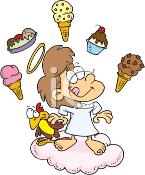 Royalty Free Clipart Image of an Angel Thinking of Food