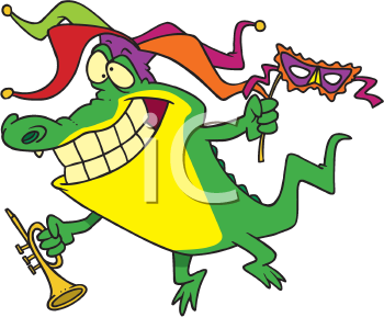 Royalty Free Clipart Image of an Alligator Celebrating Mardi Gras