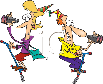 Royalty Free Clipart Image of Partiers