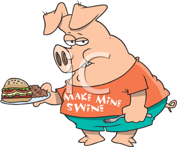 Royalty Free Clipart Image of a Pig With a Plateful of Food