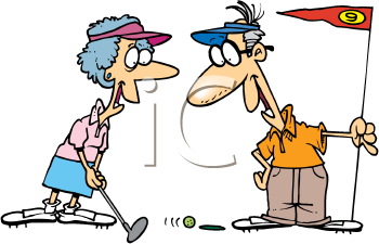 Royalty Free Clipart Image of a Couple Golfing
