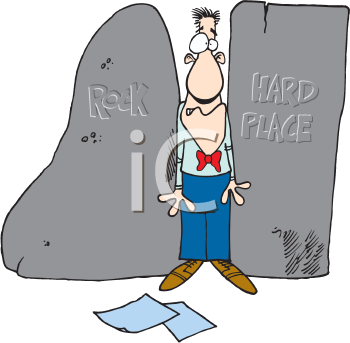 Royalty Free Clipart Image of a Man Caught Between a Rock and a Hard Place