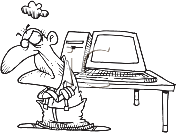 Royalty Free Clipart Image of an Elderly Man With a Computer