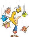 Royalty Free Clipart Image of a Woman Being Showered With Presents