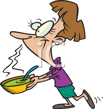Royalty Free Clipart Image of a Woman With a Bowl of Soup