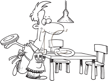 Royalty Free Clipart Image of a Man Setting the Table