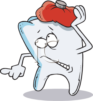 Royalty Free Clipart Image of a Tooth With an Ice Pack