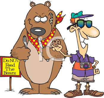 Royalty Free Clipart Image of a Man Feeding a Bear