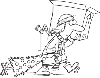 Royalty Free Clipart Image of a Woman With a Christmas Tree and Box