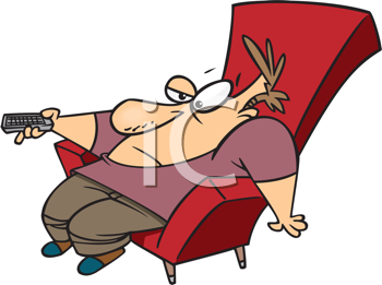 Royalty Free Clipart Image of A Couch Potato With a Remote