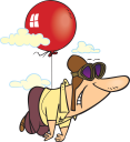 Royalty Free Clipart Image of a Man Flying With a Helium Balloon