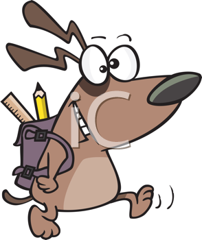 Royalty Free Clipart Image of a Dog Off to School