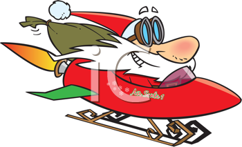 Royalty Free Clipart Image of Santa in a Rocket Sleigh