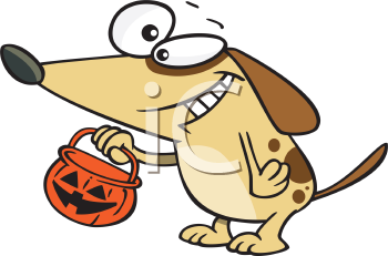 Royalty Free Clipart Image of a Dog Holding a Halloween Bucket