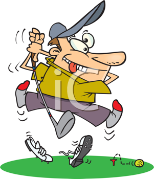 Royalty Free Clipart Image of a Golfer Making a Bad Drive