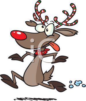 Royalty Free Clipart Image of a Running Red-Nosed Reindeer
