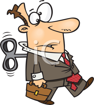 Royalty Free Clipart Image of a Wound Up Businessman