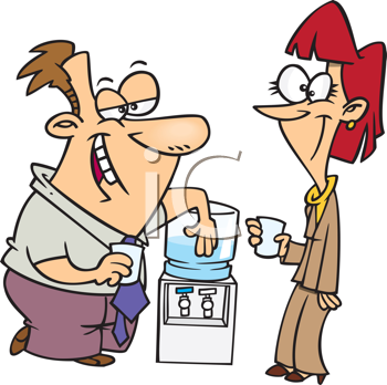 Royalty Free Clipart Image of Two People at a Water Cooler