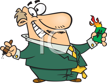 Royalty Free Clipart Image of a Man With a Cigar and a Burning Dollar Bill