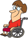 Royalty Free Clipart Image of a Woman in a Wheelchair