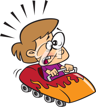 Royalty Free Clipart Image of a Boy on a Roller Coaster