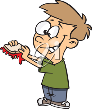 Royalty Free Clipart Image of a Boy Eating a Sandwich
