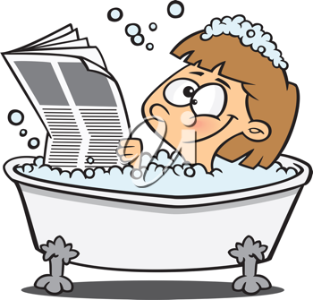 Royalty Free Clipart Image of a Woman Reading a Newspaper in the Bathtub