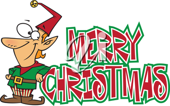 Royalty Free Clipart Image of an Elf Christmas Greeting
