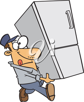 Royalty Free Clipart Image of a Man Carrying a Refrigerator