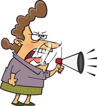 Royalty Free Clipart Image of a Woman With a Bullhorn