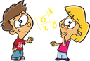 Royalty Free Clipart Image of Children Playing Tic-Tac-Toe