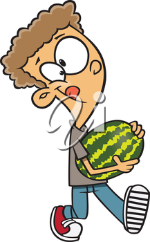 Royalty Free Clipart Image of a Boy Carrying Watermelon