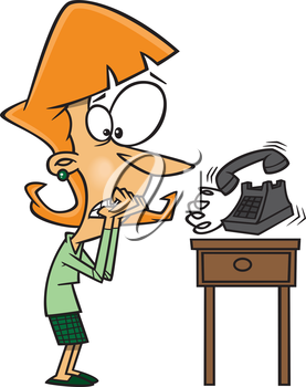 Royalty Free Clipart Image of a Women Afraid to Answer the Phone