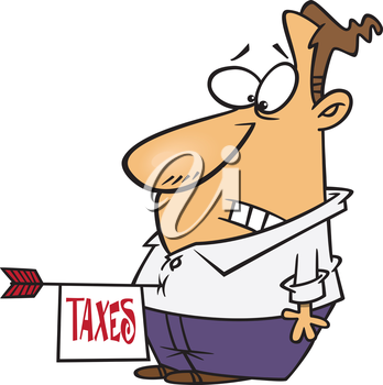 Royalty Free Clipart Image of a Man with an Arrow with a Tax Note Stuck in Stomach