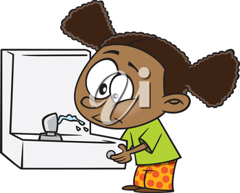 Royalty Free Clipart Image of a Girl at a Drinking Fountain