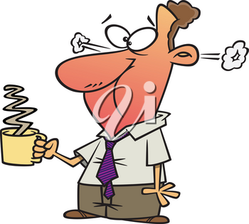 Royalty Free Clipart Image of a Man with a Hot Coffee