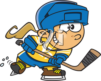 Royalty Free Clipart Image of a Girl Playing Hockey