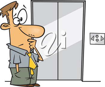 Royalty Free Clipart Image of a Man Waiting for an Elevator