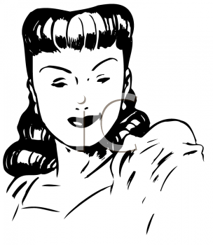 Royalty Free Clipart of a Sultry Woman