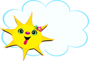Royalty Free Clipart Image of a Sun and a Cloud