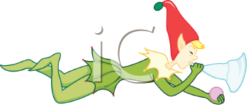 Royalty Free Clipart Image of an Elf Blowing a Trumpet