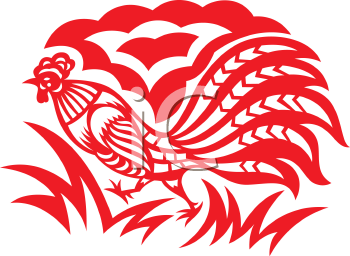 Royalty Free Clipart Image of an Oriental Rooster