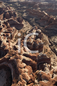 Royalty Free Photo of an Aerial of a Southwest Desert Canyon in Canyonlands National Park in Utah, USA